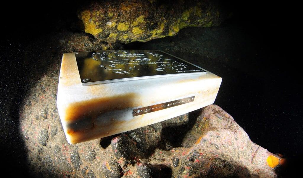 Cousteau Memorial Plaque - Atlantis Diving Santorini